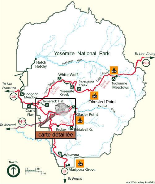 Carte Yosemite Valley.Yosemite National Park